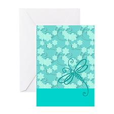 Light Blue Dragonfly Art Greeting Card