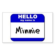 hello my name is minnie Rectangle Decal