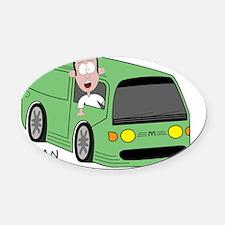 Man Van Oval Car Magnet