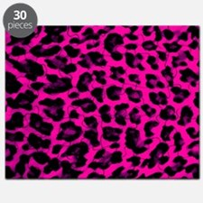 Hot Pink and Black Leopard Print Puzzle