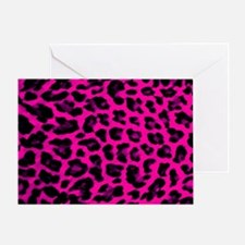 Hot Pink and Black Leopard Print Greeting Card