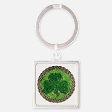 Shamrock And Celtic Knots Square Keychain