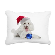 Santa Poodle Rectangular Canvas Pillow