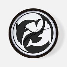 Black  And White Yin Yang Dolphins Wall Clock