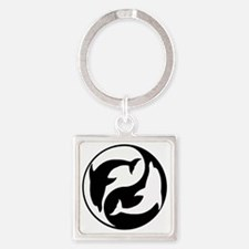 Black  And White Yin Yang Dolphins Square Keychain