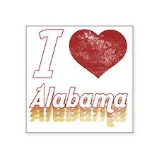 "I Love Alabama (Vintage) Square Sticker 3"" x 3"""