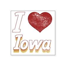 "I Love Iowa (Vintage) Square Sticker 3"" x 3"""