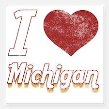 "I Love Michigan (Vintage Square Car Magnet 3"" x 3"""