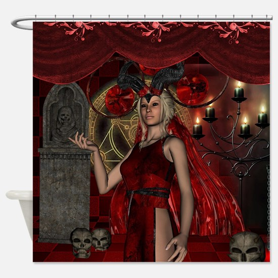 The dark fairy with candle light and skulls Shower