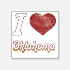 "I Love Oklahoma (Vintage) Square Sticker 3"" x 3"""