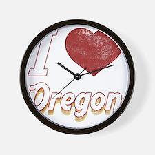 I Love Oregon (Vintage) Wall Clock