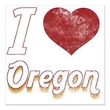"""I Love Oregon (Vintage) Square Car Magnet 3"""" x 3"""""""