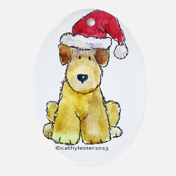 Doodle Santa Oval Ornament
