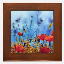 Poppy Field Framed Tile
