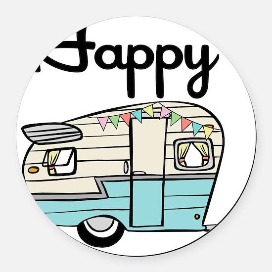 Happy Camper Round Car Magnet