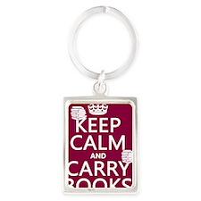 Keep Calm and Carry Books Portrait Keychain