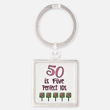 50 is Five Perfect TENS Square Keychain