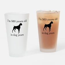 80 birthday dog years boxer Drinking Glass