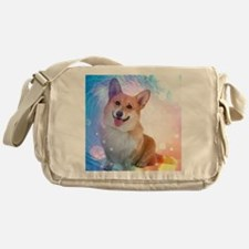 Smiling Corgi with Blue Wave Messenger Bag