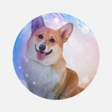 Smiling Corgi with Blue Wave Round Ornament