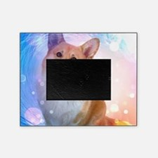 Smiling Corgi with Blue Wave Picture Frame