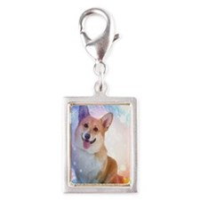 Smiling Corgi with wave Silver Portrait Charm