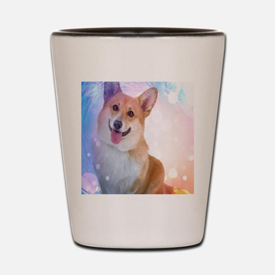 Smiling Corgi with wave Shot Glass