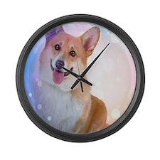 Smiling Corgi with wave Large Wall Clock