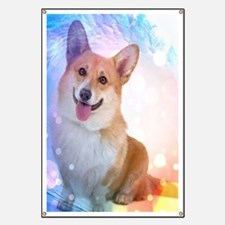 Smiling Corgi with wave Banner