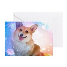 Smiling Corgi with Wave Greeting Card