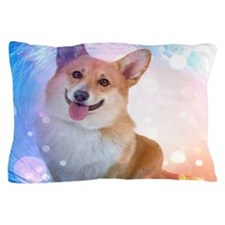 Smiling Corgi with Wave Pillow Case