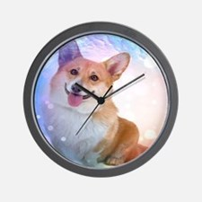 Smiling Corgi with Wave Wall Clock