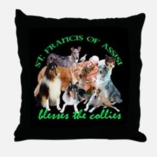 ST. FRANCIS BLESSES THE COLLIES Throw Pillow