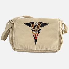 Navy Caduceus Eagle Messenger Bag