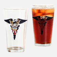Navy Caduceus Eagle Drinking Glass