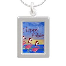 Santa Flamingo Family Be Silver Portrait Necklace