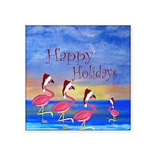 "Santa Flamingo Family Beach Square Sticker 3"" x 3"""