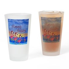 Santa Flamingo Family Beach Drinking Glass