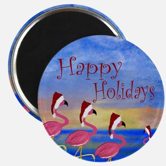 Santa Flamingo Family Beach Magnet