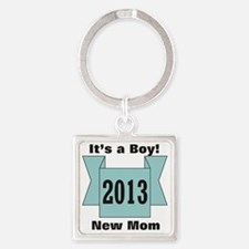 2013 New Mom of Boy Square Keychain