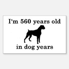 80 birthday dog years boxer 2 Decal