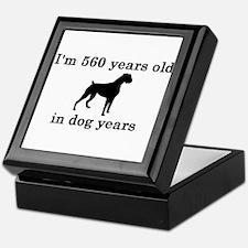 80 birthday dog years boxer 2 Keepsake Box