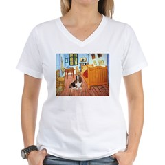 Van Gogh's Room & Basset Women's V-Neck T-Shirt