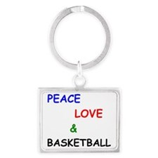 Peace Love and Basketball Landscape Keychain