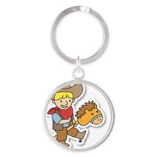 Happy cowboy riding on a horse stic Round Keychain