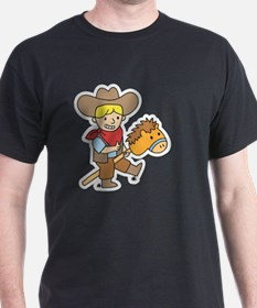 Happy cowboy riding on a horse stick T-Shirt
