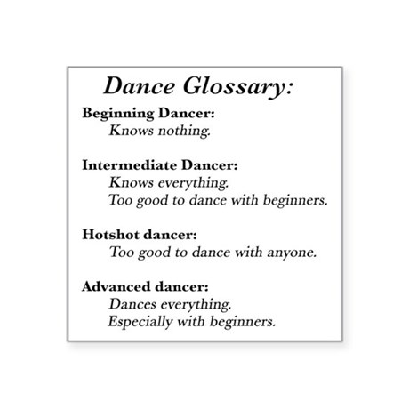 """Guide to the Types of Dance Square Sticker 3"""" x 3"""""""