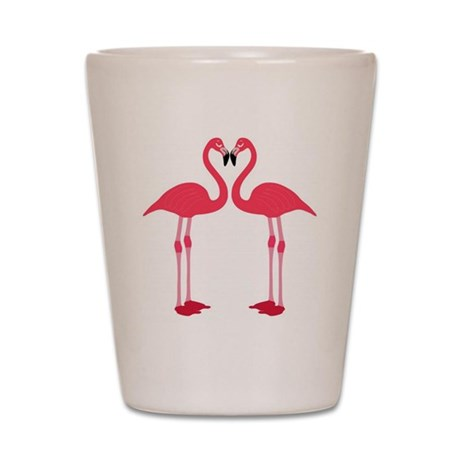 flamingo love birds Shot Glass