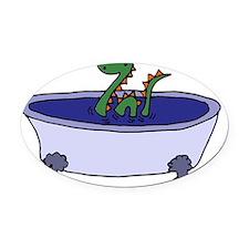 Loch Ness Monster in Bathtub Carto Oval Car Magnet