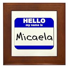 hello my name is micaela  Framed Tile